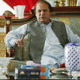 Nawaz Sharif, the leader of Pakistan Muslim League - Nawaz (PML-N), points as he speaks to foreign reporters at his residence in Lahore May