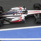 McLaren Formula One driver Jenson Button of Britain drives during the first practice session of the Spanish F1 Grand Prix at the Circuit de
