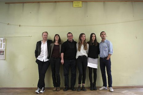 Actors Stellan Skarsgard, Charlotte Gainsbourg, director Lars Von Trier, actors Mia Goth, Stacy Martin and Shia LaBeouf (L-R) pose on the fi
