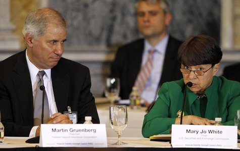 Mary Jo White, Chair of the Securities and Exchange Commission (R) and Martin Gruenberg, Chairman of the U.S. Federal Deposit Insurance Corp
