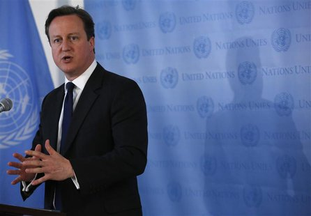 British Prime Minister David Cameron speaks during a news conference at the United Nations headquarters in New York May 15, 2013. REUTERS/Br