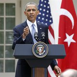 U.S. President Barack Obama addresses a joint news conference with Turkish Prime Minister Recep Tayyip Erdogan in the White House Rose Garde
