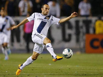 Los Angeles Galaxy midfielder Landon Donovan (10) controls a ball during their CONCACAF Champions League semi-final soccer match against aga
