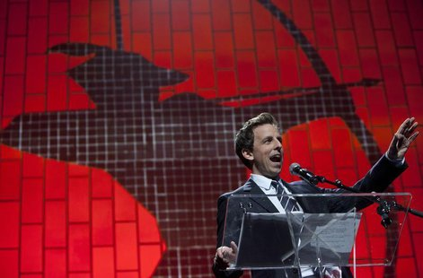 TV Personality Seth Meyers speaks at the Robin Hood Foundation Benefit at the Jacob K Javits Convention Center in New York May 14, 2012. REU