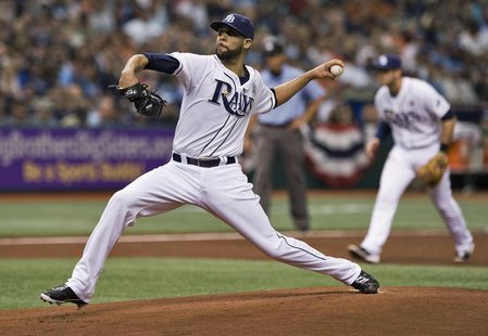 Tampa Bay Rays starter David Price pitches against the Baltimore Orioles during the first inning of a MLB baseball game in St. Petersburg, F