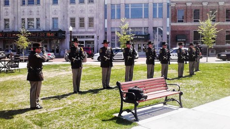 Marathon County sheriff's honor guard at the 400 Block in Wausau