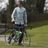 British cyclist Bradley Wiggins poses for photographers during a press day for the Giro d'Italia cycle race at the Kilhey Court hotel in Sta