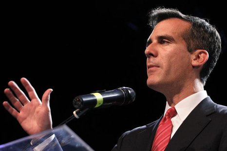 Los Angeles mayoral candidate Eric Garcetti speaks during an election night party at Avalon night club in Hollywood, California, March 5, 20
