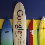 Surfboards lean against a wall at the Google office in Santa Monica, California, October 11, 2010. REUTERS/Lucy Nicholson