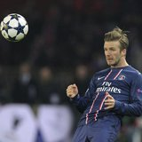 Paris St Germain's David Beckham reacts during their Champions League quarter-final first leg soccer match against Barcelona at the Parc des