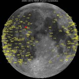 Hundreds of meteoroid impacts on the moon, detected by NASA's lunar monitoring program, are pictured in this undated NASA handout photo. REU