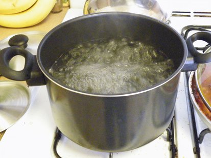 Water boils in a pot on a stove.