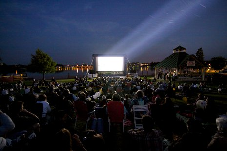 Fans gather to watch a movie at the 2012 Waterfront Film Festival.