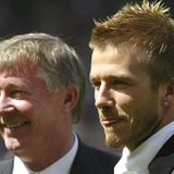 Manchester United's David Beckham (R) stands with manager Sir Alex Ferguson before their match against Charlton Athletic in the English prem