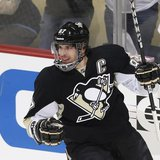 Pittsburgh Penguins' Sidney Crosby reacts after scoring against the Ottawa Senators during the first period of Game 2 of their NHL Eastern C