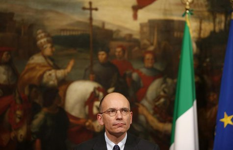 Italian Prime Minister Enrico Letta attends a news conference with European Parliament President Martin Schulz (not pictured) at Chigi palac