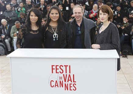Director Arnaud Desplechin (2ndR) and cast members Gina McKee (R), Misty Upham (2ndL) and Michelle Thrush pose during a photocall for the fi