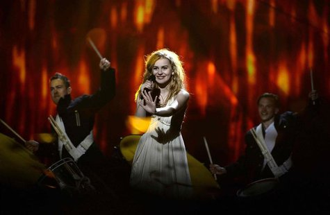 "Danish singer Emmelie de Forest performs the song ""Only teardrops"" during the dress rehearsal for the final of the 2013 Eurovision Song Cont"