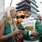 Ed Carpenter Racing driver Ed Carpenter of the U.S. celebrates with his wife Heather after taking the pole position in the Indianapolis 500