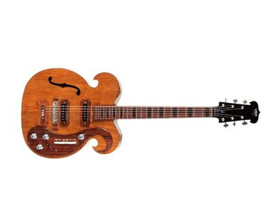 A custom-made electric guitar played by the late John Lennon and George Harrison of the Beatles is shown in this Julien's Auctions handout p