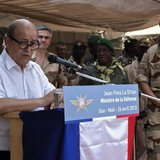 French Defence Minister Jean-Yves Le Drian speaks to French troops at the French military base at the airport in Gao, April 26, 2013. REUTER