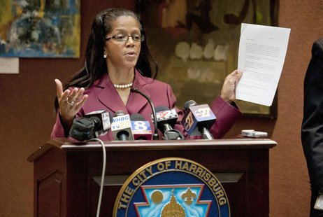 City of Harrisburg Mayor Linda Thompson speaks about her city's bankruptcy filing at a news conference at Harrisburg City Hall in Harrisburg