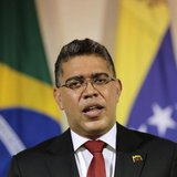 Venezuela's Foreign Minister Elias Jaua speaks during a press statement with his Brazilian counterpart Antonio Patriota (not pictured) at th