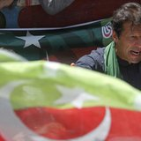 Imran Khan, Pakistani cricketer-turned-politician and chairman of political party Pakistan Tehreek-e-Insaf (PTI), addresses his supporters a