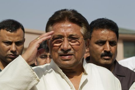 Pakistan's former President and head of the All Pakistan Muslim League (APML) political party Pervez Musharraf salutes as he arrives to unve