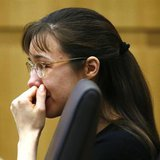 Jodi Arias cries as she listens to Steven Alexander, brother of murder victim Travis Alexander, makes his victim impact statement to the jur