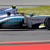Mercedes Formula One Lewis Hamilton of Britain drives during the qualifying session at the Spanish F1 Grand Prix at the Circuit de Catalunya
