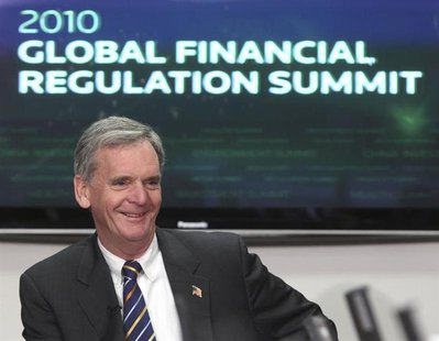 Judd Gregg speaks at the Reuters Global Financial Regulation Summit 2010 in Washington April 27, 2010. REUTERS/Larry Downing