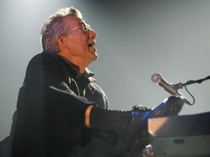 Riders On The Storm's Ray Manzarek performs during a concert of their European tour which commemorates the 40th anniversary of the band The