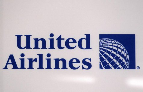 A logo is pictured on a wall during a news conference announcing the merger between Continental Airlines and United Airlines in New York, Ma