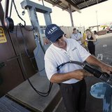Mark Schultz operates a HydraFLX pump at Pearl Harbor, HI.  (Reuters Hugh Gentry/Files)