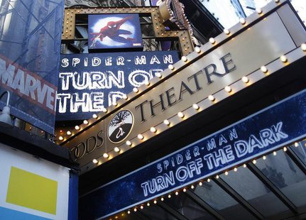 "The marquee for the Broadway show ""Spider-Man: Turn Off The Dark"" is seen outside the Foxwoods Theatre in New York December 21, 2010. REUTER"