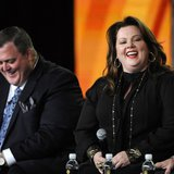 "Cast members Billy Gardell (L) and Melissa McCarthy participate in a panel for CBS series ""Mike & Molly"" during the CBS sessions at the Tele"