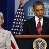 President Barack Obama makes a statement next to Secretary of HHS Kathleen Sebelius about contraceptive care funding in the press room of th