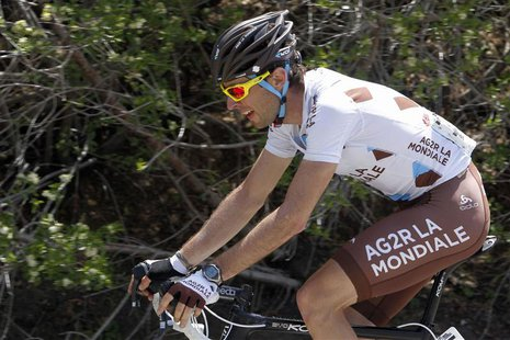 Team AG2R La Mondiale rider Sylvain Georges of France ascends on the last climb of the sixth stage of the Tour of California near Crestline,
