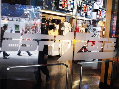 The entrance to the ESPN Zone restaurant is seen at the Time Square location in New York June 10, 2010. REUTERS/Shannon Stapleton