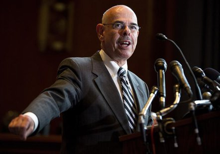 Representative Henry Waxman (D-CA) speak during a news conference calling for no reduction in the Medicare and Medicaid budgets, as part of