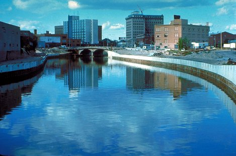 The Flint River in Flint, Michigan.