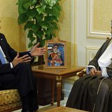 U.S. Secretary of State John Kerry (L) meets with Oman's Minister of Defense Sayyid Badr bin Saud al Busaidi in Muscat, Oman May 22, 2013. R