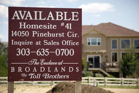 A vacant lot owned by Toll Brothers is shown for sale in a housing development in Broomfield, Colorado August 12, 2009. REUTERS/Rick Wilking