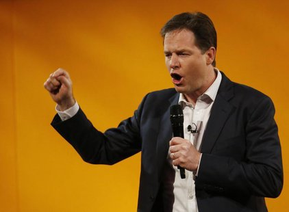 Britain's Deputy Prime Minister, and Leader of the Liberal Democrats, Nick Clegg, answers question during a question and answer session at t