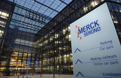 The new logo of bio pharmaceutical company Merck Serono SA is pictured outside the new headquarters in Geneva January 8, 2007. REUTERS/Denis