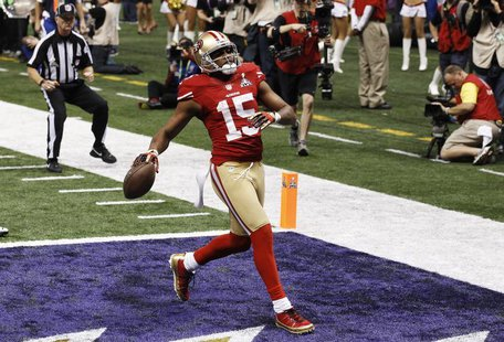 San Francisco 49ers wide receiver Michael Crabtree scores a touchdown against the Baltimore Ravens during the third quarter in the NFL Super