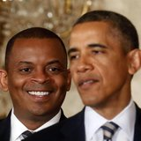 U.S. President Barack Obama explains that Charlotte, N.C., Mayor Anthony Foxx (L) will be his nominee to replace Ray LaHood as U.S. Transpor