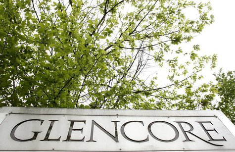 The logo of Glencore is seen in front of the company's headquarter in the Swiss town of Zug May 9, 2012. REUTERS/Arnd Wiegmann