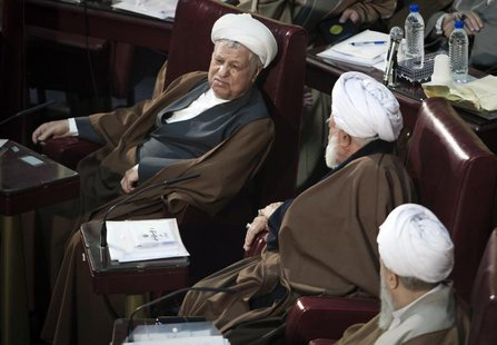 Iran's former President Akbar Hashemi Rafsanjani (L) attends Iran's Assembly of Experts' biannual meeting in Tehran March 6, 2012. REUTERS/R